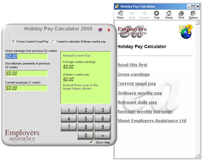 Screen shot of the Holiday Pay Calculator