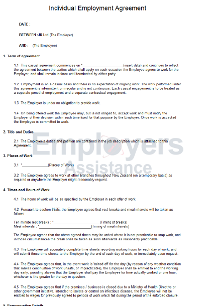 Casual Employment Contract Amp Agreement Employers