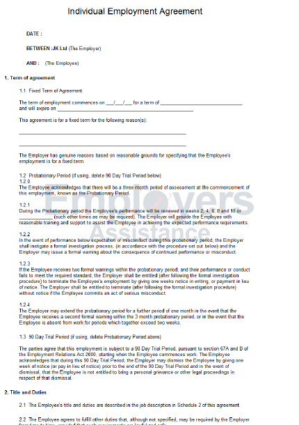 Fixed Term Employment Contract Employers Assistance NZ – Job Contract Template