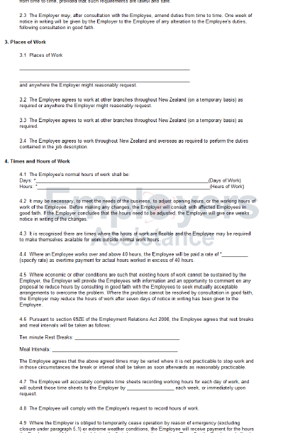 Example of maternity leave letter to employer nz red for Terms of employment contract template