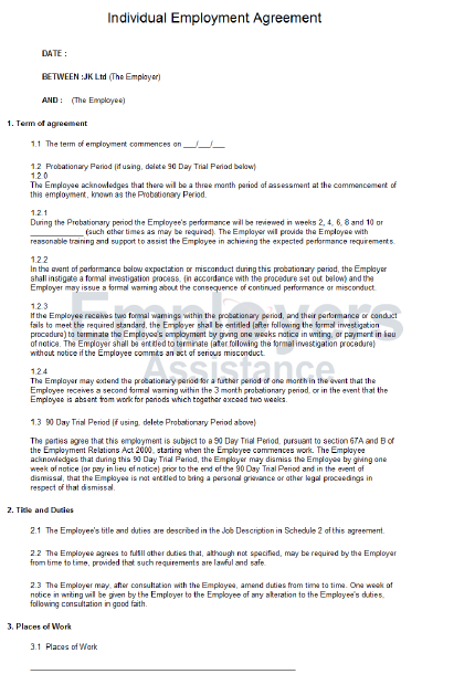 standard contract of employment template - standard full time employment contract employers assistance