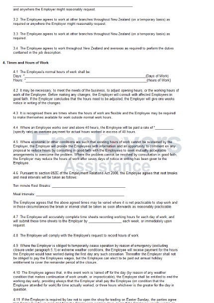 Standard Full Time Employment Contract Employers Assistance – Standard Employment Contract