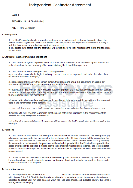 Independent Contractor Agreement Guide Employers Assistance – Trading Agreement Template