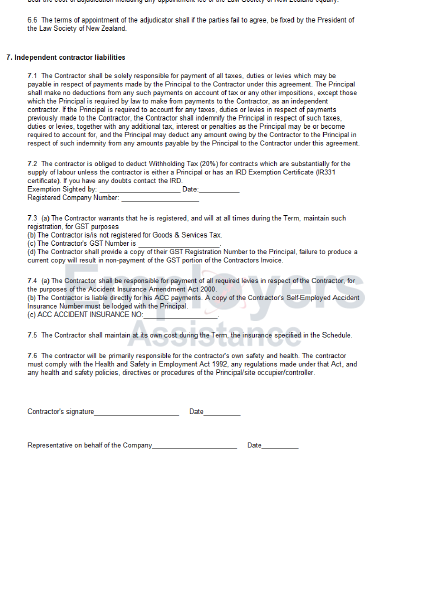 independent contractor agreement sample