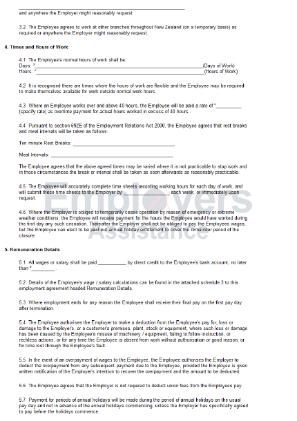Part Time Employment Contract Agreement Employers Assistance Nz